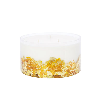 Large Hand-poured & Dyed 32oz Glass Soy Candle - Gold
