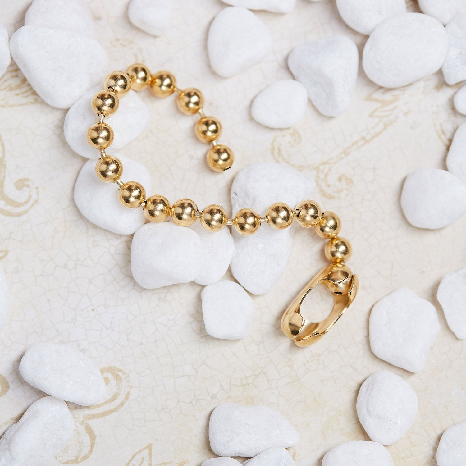 Gold Fancy Bead Chain Bracelet