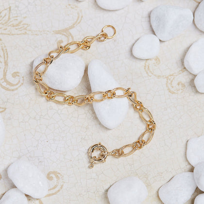 Gold Fancy Figaro Chain Bracelet - Odell Design Studio