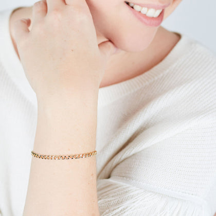 Gold Fine Flat Cable Chain Bracelet - Odell Design Studio