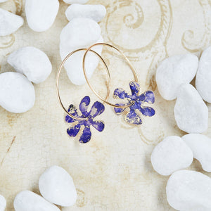 Gold Flower Power Hoop Earrings - Available in More Colors