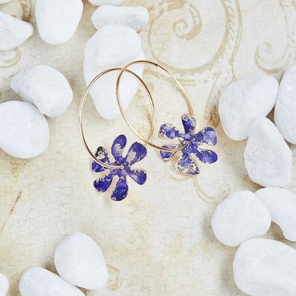 Gold Flower Power Hoop Earrings - Available in More Colors - Odell Design Studio