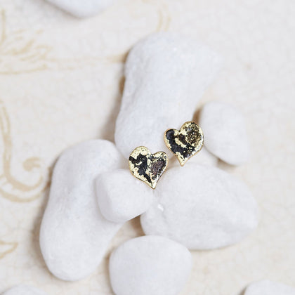 Gold Micro Heart Stud Earrings - Available in more colors - Odell Design Studio