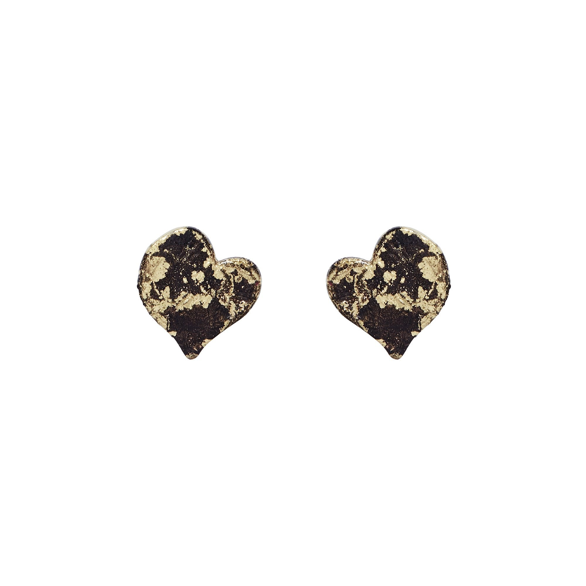 Gold Micro Heart Stud Earrings - Available in more colors