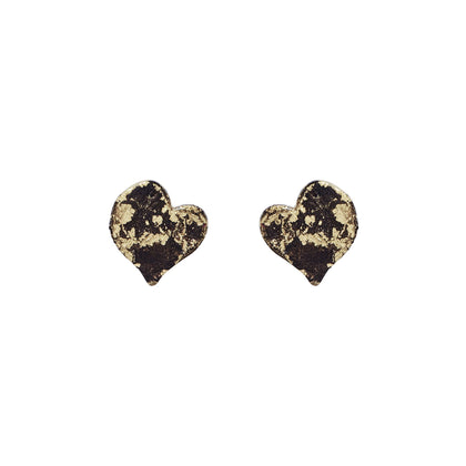 Gold Petit Heart Stud Earrings - Available in more colors - Odell Design Studio