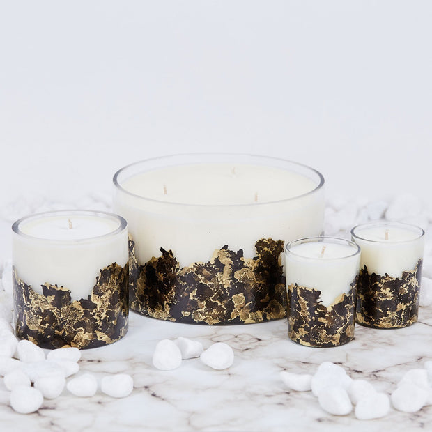Hand-poured & Dyed 8oz Glass Soy Candle - Black + Gold 1