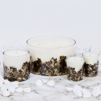 Hand-poured & Dyed 8oz Glass Soy Candle - Black + Gold - Odell Design Studio