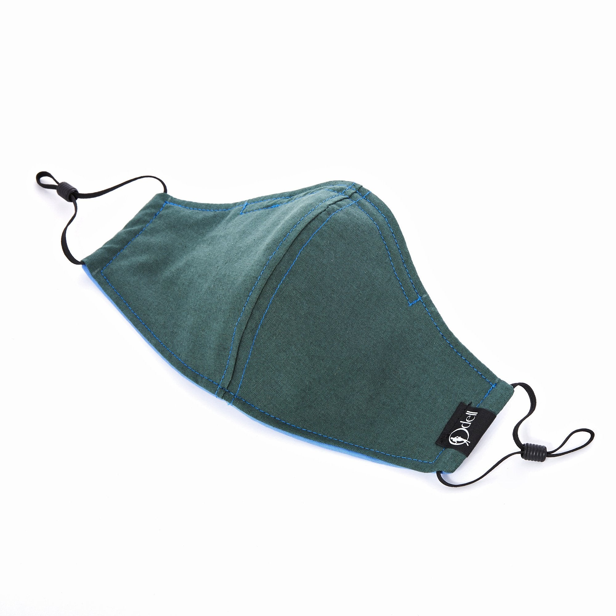 Kids Cotton Cloth Face Mask - Forest Green/Indigo