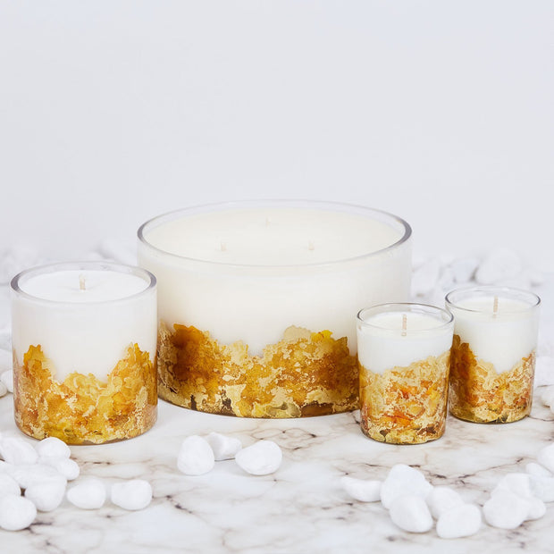Large Hand-poured & Dyed 32oz Glass Soy Candle - Gold 1