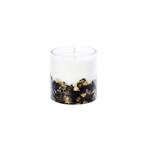 Luxury Hand-Dyed 8oz Glass Soy Candle - Black + Gold - Odell Design Studio