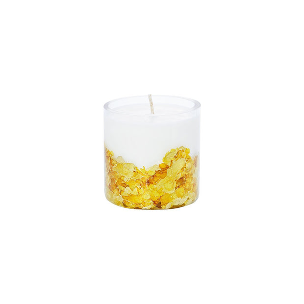 Hand-poured & Dyed 8oz Glass Soy Candle - Gold 1