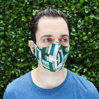 Men's Cotton Face Mask - Cube City/Forest Green - Odell Design Studio