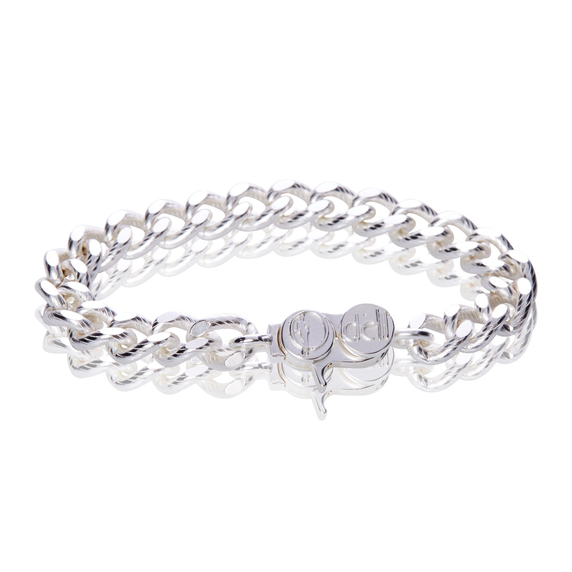 Signature Silver Fancy Textured Cable Chain Bracelet