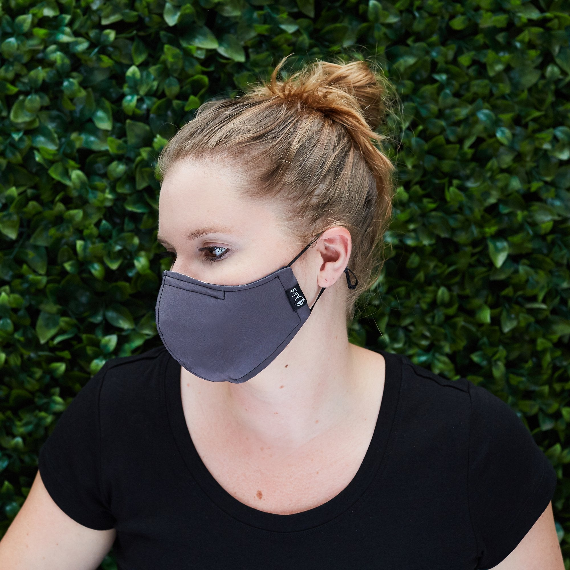 Silk Cloth Face Mask - Black/Slate Gray