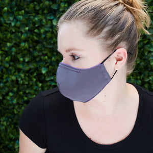Silk Cloth Face Mask - Bright Purple/Slate Gray - Odell Design Studio