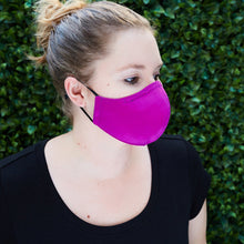 Load image into Gallery viewer, Silk Cloth Face Mask - Fuchsia/Bright Purple - Odell Design Studio