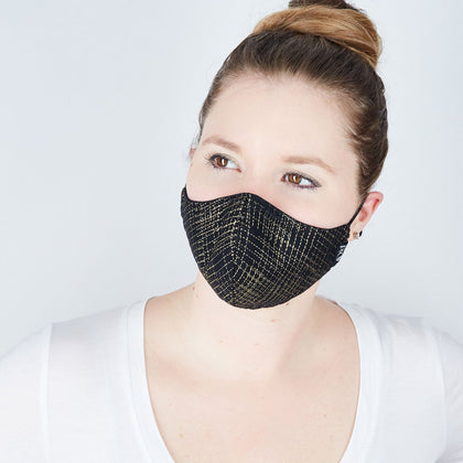 Silk + Cotton Cloth Face Mask - Gold Cross Hatch - Odell Design Studio