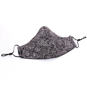 Silk + Cotton Cloth Face Mask - Gray Paisley