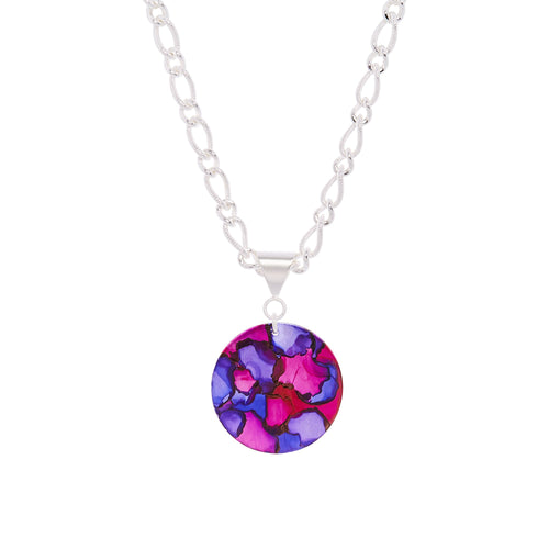 Silver Plated 18in bold figaro chain necklace with round 1 inch pendant, dyed in abstract pattern purple and blue
