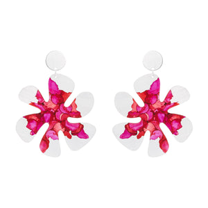 Silver Large Flower Earrings - Available in More Colors