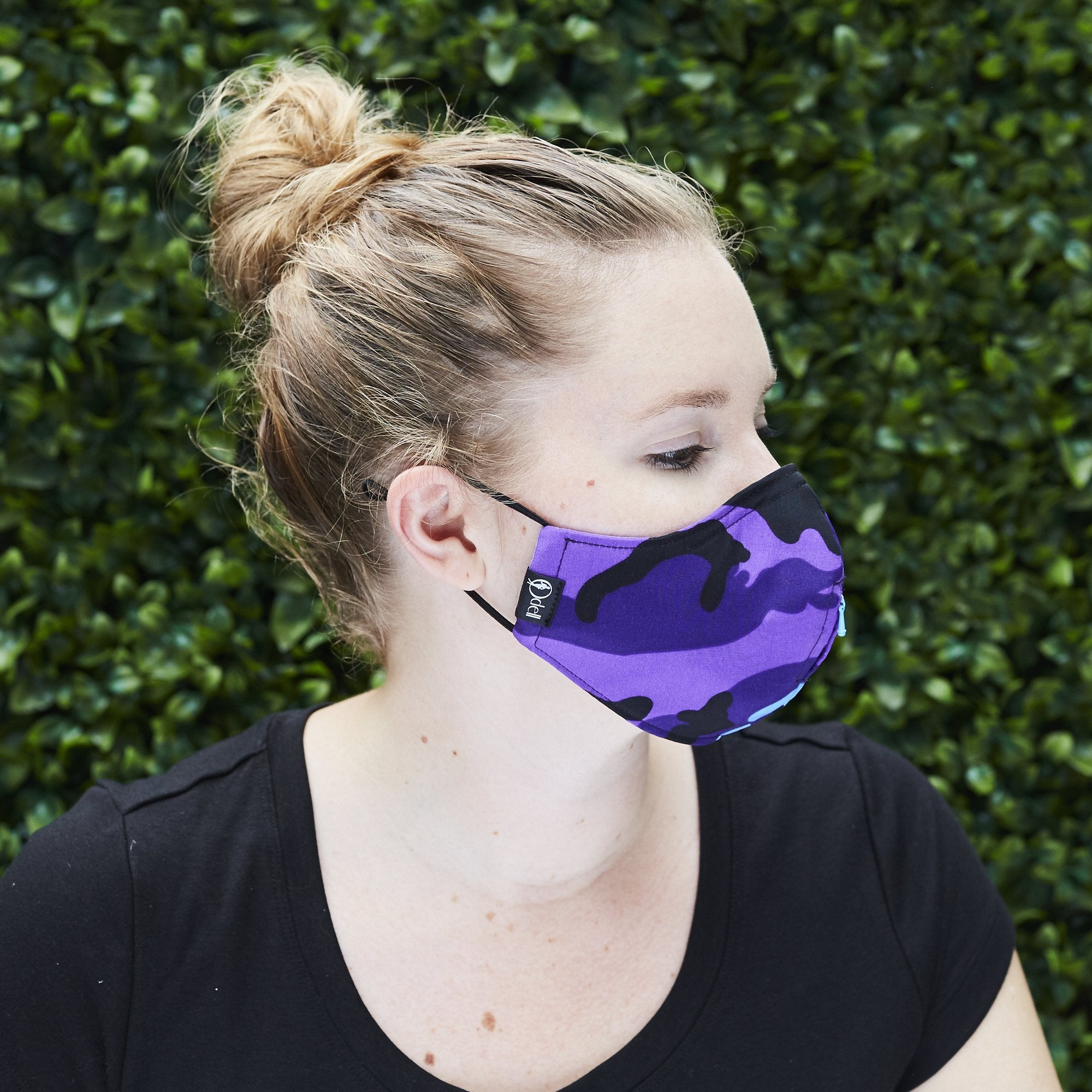 """Sippa"" Silk/Cotton Cloth Face Mask + Reusable Metal Straw - Purple Power"
