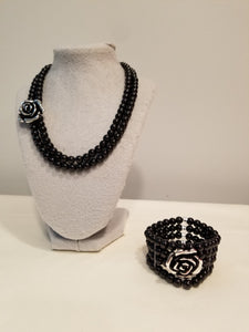 Chanel style camellia flower necklace
