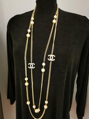 Chanel inspired necklace, CC white  pearls