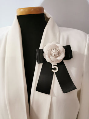 White leather Camellia brooch