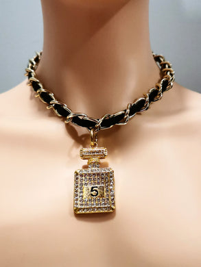 Gold chain  number 5 necklace