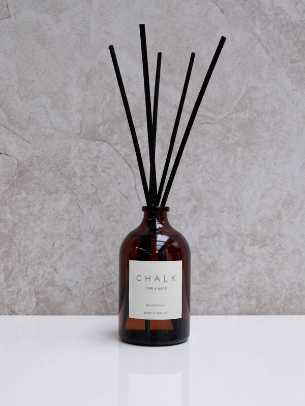 Chalk Amber Glass Diffuser - Lime & Herb
