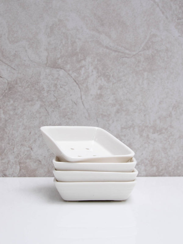 Chalk Porcelain Square Soap Dish (8.2cm x 8.2cm)