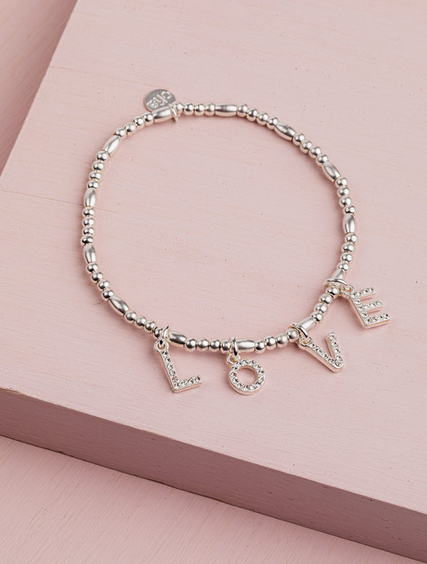 Olia Silver Bracelet with Diamante Love Letters