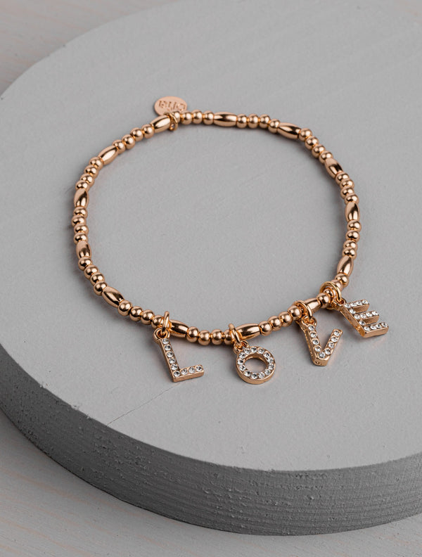 Olia Gold Bracelet with Diamante Love Letters