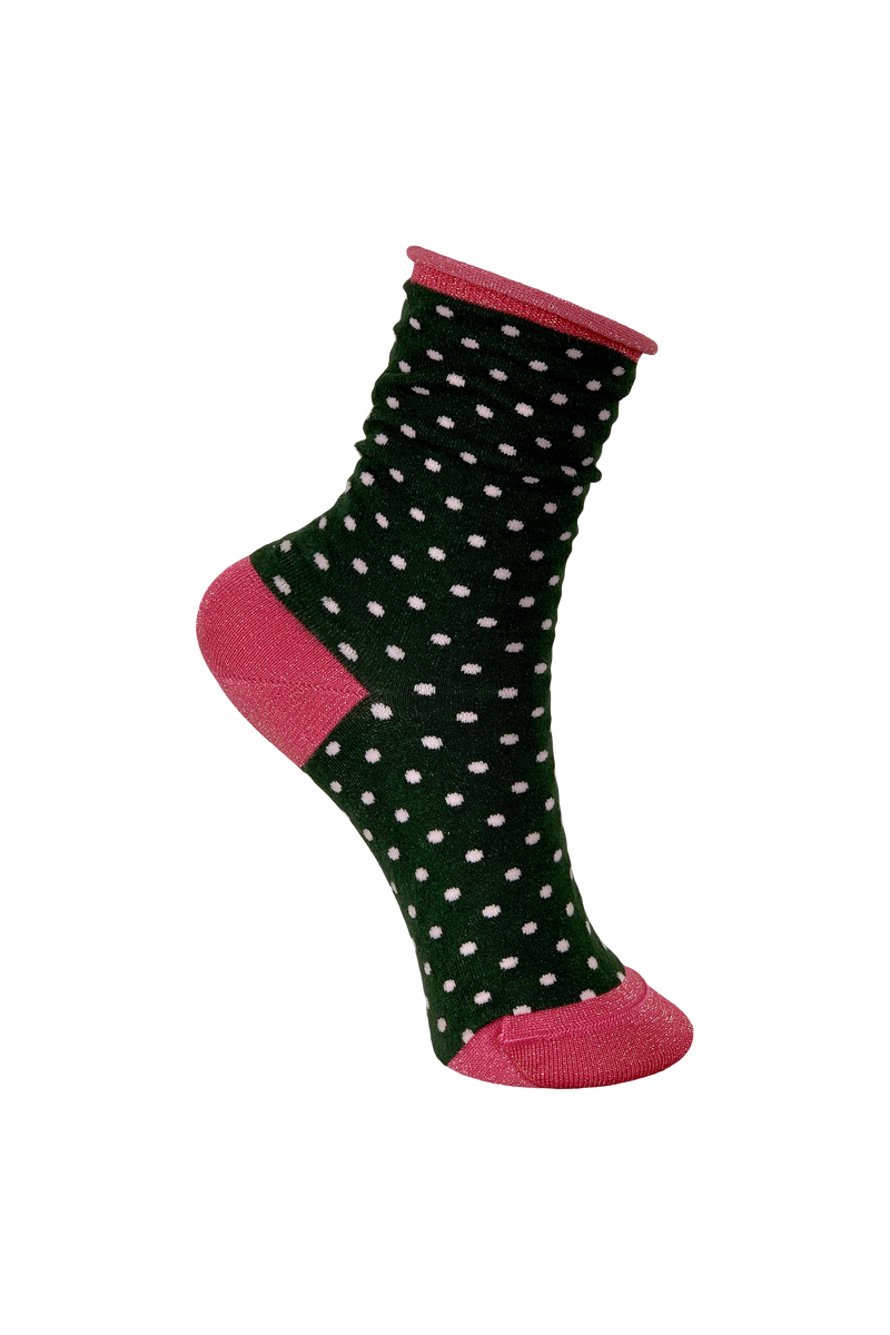 Lurex Sparkly Glitter Spotty Sock in Army Green - One Size