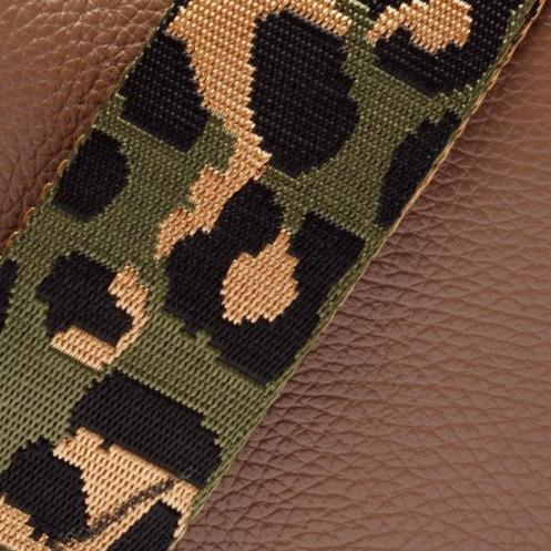 Fully Adjustable Crossbody Bag Strap in Olive Green Camo Leopard Print
