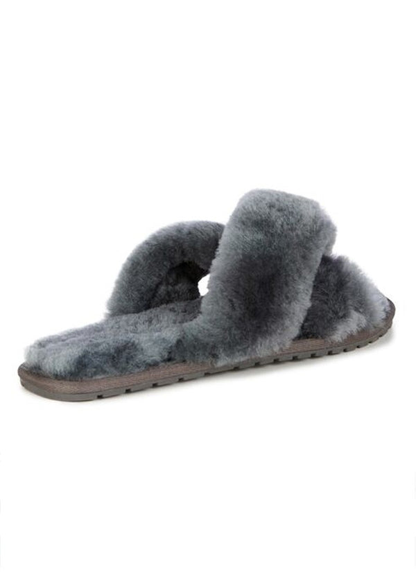 Emu Australia Mayberry Slipper Sliders with Crossover in Charcoal Sheepskin (IN STOCK NOW)