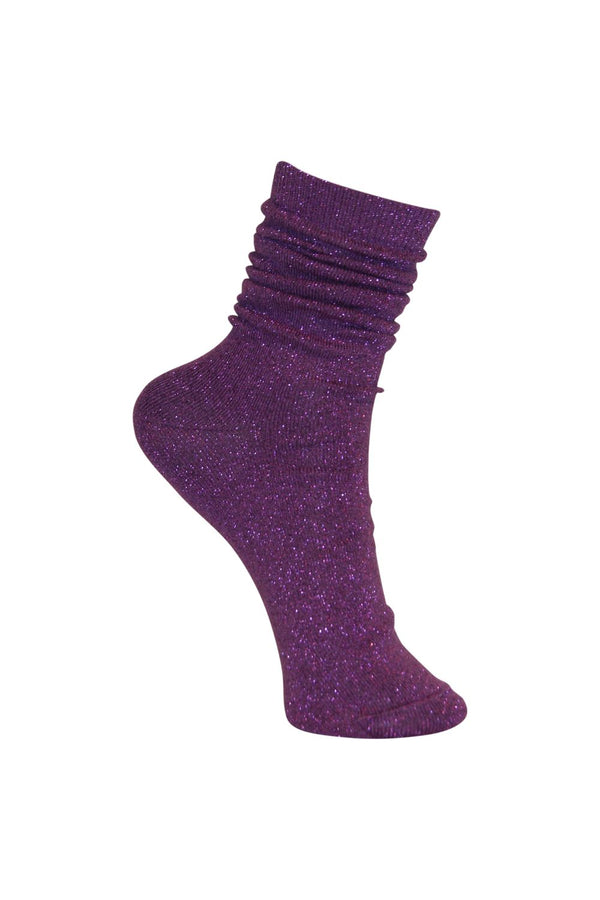 Lurex Sparkly Glitter Socks in Fuchsia Pink - One Size