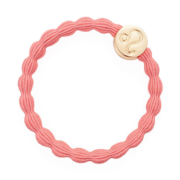 Salmon Coral Leo Bobble Band with Gold Charm