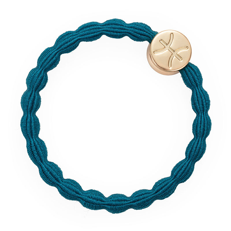 Petrol Blue Pisces Bobble Band with Gold Charm