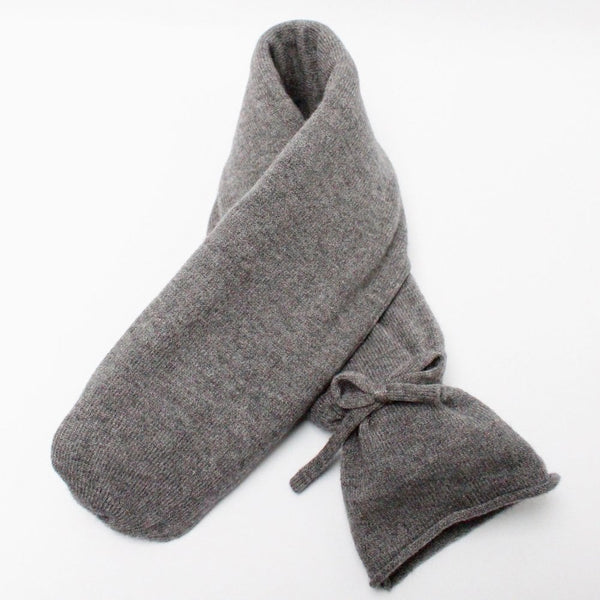 Chalk Long Soft Felted Hot Water Bottle with Ribbon Tie in Charcoal