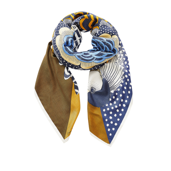 Inouïtoosh Gallinace Navy & Mustard Silk & Modal Mix Square Scarf AW20