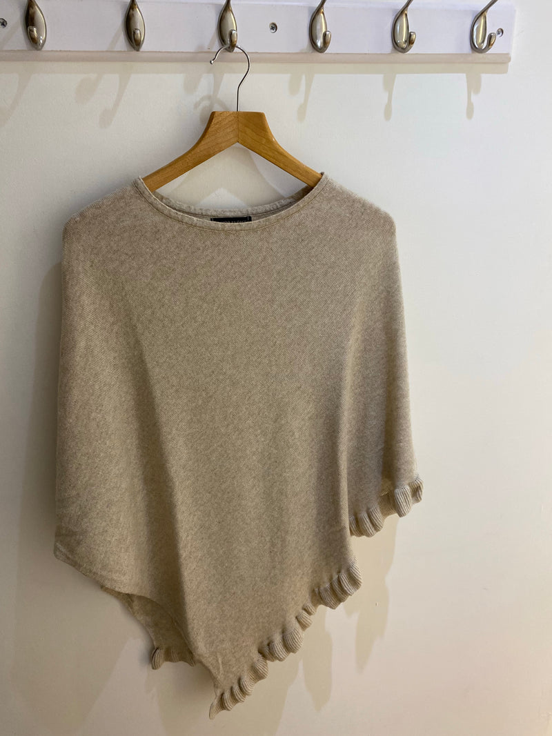 Cashmere Mix Poncho with Frill Detailing in Stone (ONE SIZE)