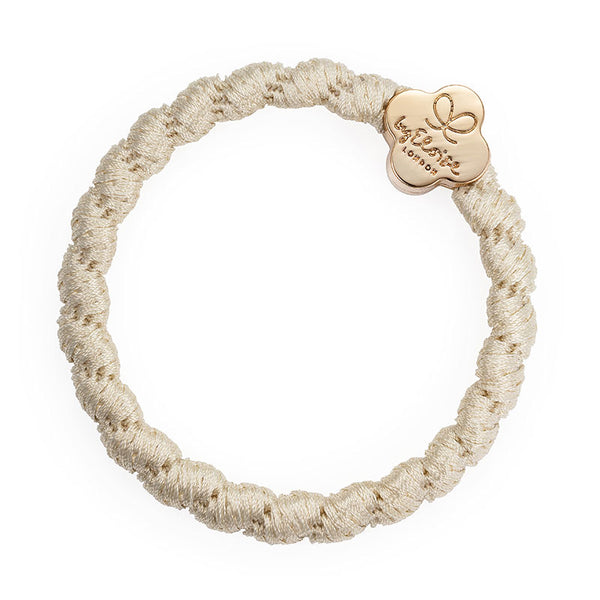 Bobble Band in Woven Cream with Gold