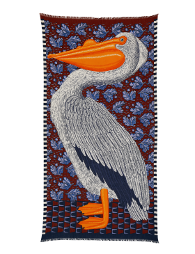 Inouïtoosh Etole Pelican Print Scarf - Blue, Rust and Orange