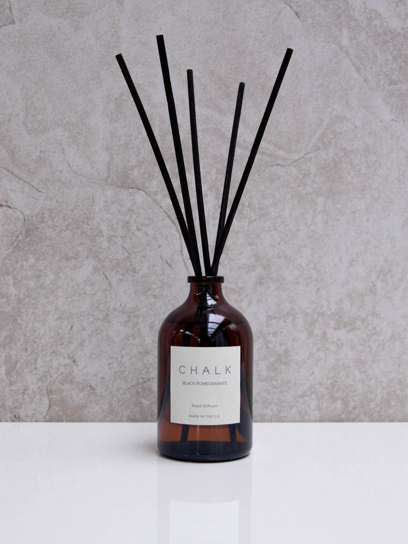 Chalk Amber Glass Diffuser - Black Pomegranate