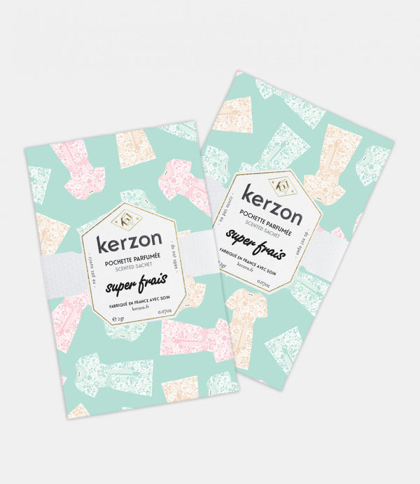 Kerzon Paris Perfume Scented Sachets in Super Frais Super Fresh - Cedar & Ylang (Pack of 2)