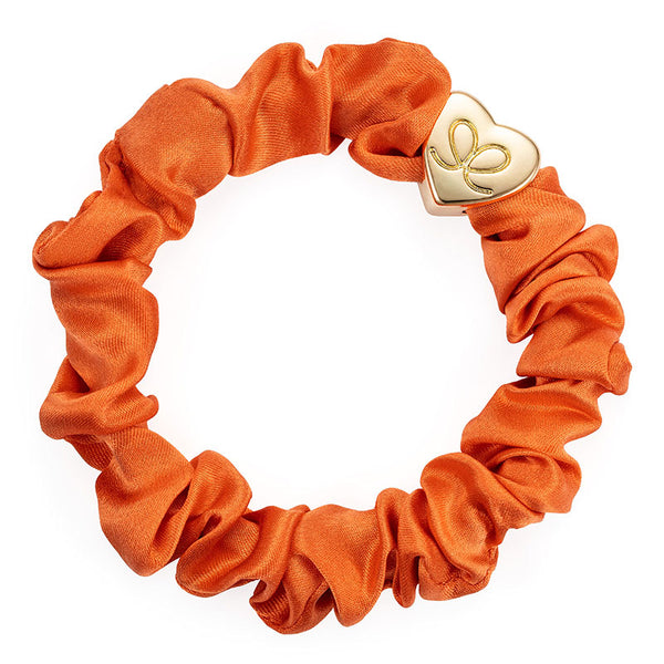 Slim Slik Scrunchie Bobble Band with Gold Heart Charm in Orange