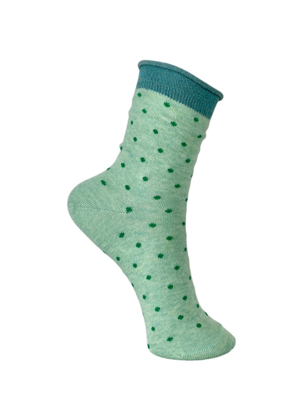 Socks in Mint with Green Dots (One Size)