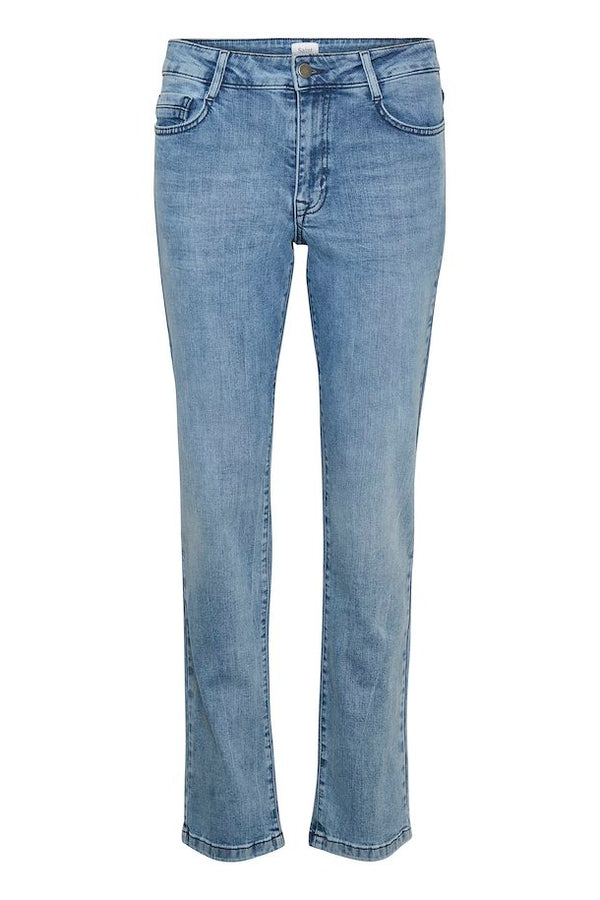 St Tropez Molly SZ Regular Relaxed Fit Straight Leg Jeans in Light Blue Wash