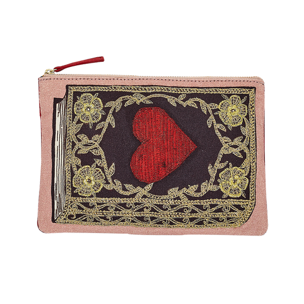 Inouïtoosh Red Heart Embroidered Cotton Pouch with Metallic Yarns and Velvet Cord Back